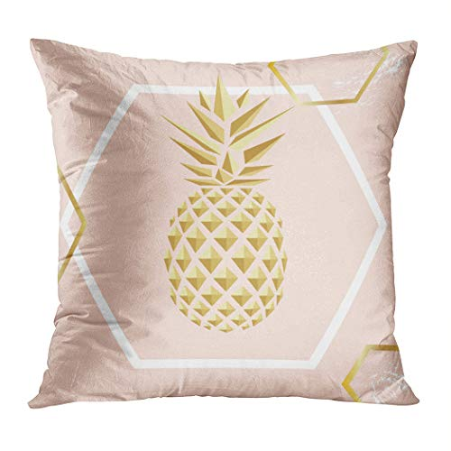 Ortrial Throw Pillow Cover Print Polyester Golden Pineapple Close Up Decorative Sofa Bedroom Hidden Zipper Pillowcase Patio Outdoor 20 x 20 Inches (Grenadier Natural Light)