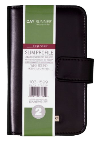 Day Runner Undated Windsor Refillable Planner, Black, 3 1/4