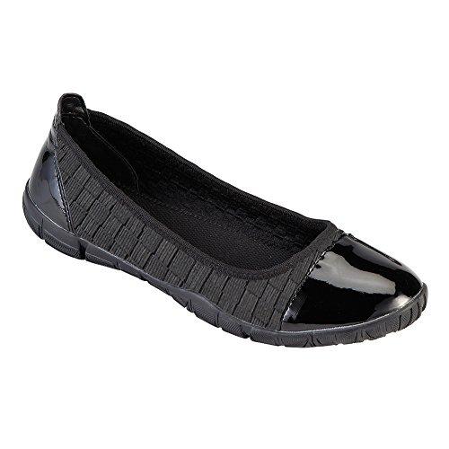Corkys Footwear Women's Coco Featherlites Black Woven Elastic Ballet Flats 7 Coco Footwear