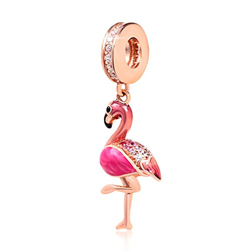 925 Sterling Silver Bird Beads Rose Gold Plated with Enamel Flamingo Animal Dangle Charm for DIY Charm Bracelets and Necklaces