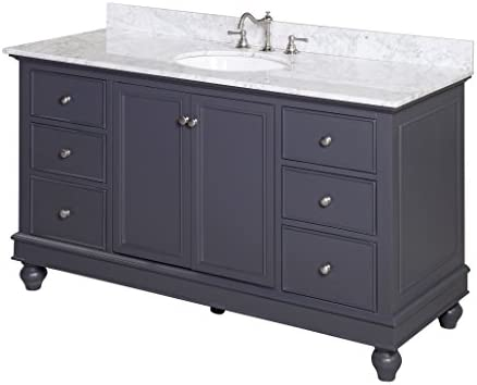 Bella 60-inch Single Sink Bathroom Vanity Carrara Charcoal Gray Includes Charcoal Gray Cabinet with Soft Close Drawers, Authentic Italian Carrara Marble Countertop, and White Ceramic Sink