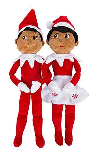 (Elf on The Shelf: Christmas Plushee Pals Bundle Dark Skin Brown Eyed Boy and Girl)