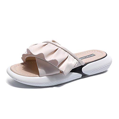 Sandalias de las mujeres de los deslizadores en el desgaste del verano sandalias y zapatillas de estudiante de Harajuku de la parte inferior de la manera sandalias modernas minimalistas de la playa A