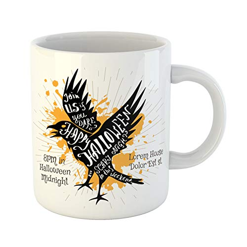 (Emvency Coffee Tea Mug Gift 11 Ounces Funny Ceramic Halloween Black Shape of Flying Crow and Calligraphic Holiday Wishes Hand Gifts For Family Friends Coworkers Boss)