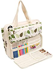 Lavievert Knitting Tote Bag Yarn Storage Bag for Carrying Projects, Knitting Needles, Crochet Hooks and Other Accessories