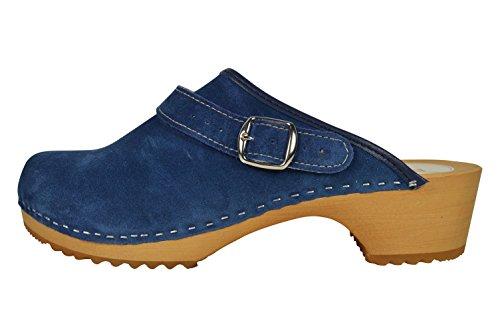 Buxa Zuecos de Ante Unisexo con Suela de Madera y Correa Ajustable Azul Denim