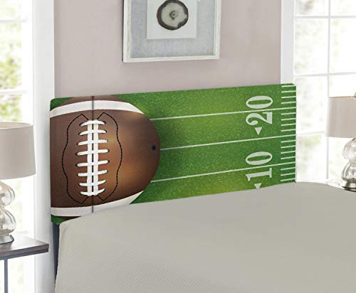 - Lunarable Sports Headboard for Twin Size Bed, American Football Field and Ball Realistic Vivid Illustration College, Upholstered Decorative Metal Headboard with Memory Foam, Green Brown and White