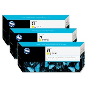 Genuine Original HP 91 3-pack 775-ml Yellow DesignJet Pigment Ink Cartridges for HP DesignJet Z6100 and Z6100ps - Sealed in Retail Packaging (C9485A)