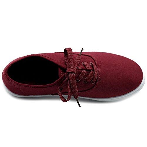 Burgundy Canvas Up Shoes Women's Ollio Flats Lace Sneakers qTSfwx0X