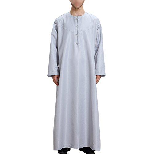 Est Arabi Etnici Vestiti Dishdasha Ebrea Uomo Manica Arabia Colore Da Stile Caftano Di Solidi Vesti Xinvision Lunga Th808 Pakistan Islamico Mezzo Hindu Grigio Musulmani Xw4Xqad