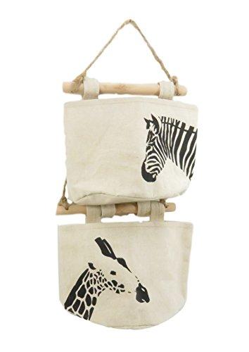 Fabric Linen Wall Door Closet Storage Hanging Bag Organizer Office Art Supplies Zebra Giraffe 7.5 x 6 Beige Black (Set of 2) - Office Supplies Closet Organizer