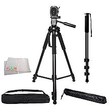 """Professional 72-inch Tripod 3-way Panhead Tilt Motion w/ Built In Bubble Level & 72"""" Monopod w/ Quick Release for Canon Rebel EOS-M M3 SL1 T3 T3i T4i T5 T5i T6 T6i T6s XSI XTI 60D 70D 50D 40D 30D 5D 6D Mark III 7D 7D Mark II 80D 5DS 5DS R Cameras"""
