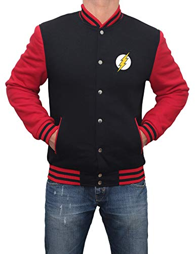 Red and Black Varsity Bomber Jacket Men- Superhero Jacket|Flsh, L
