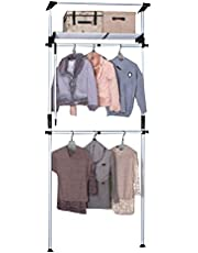 JIAYING Telescopic Floor-to-Ceiling Garment Rack,Adjustable Closet,Heavy Duty Hang Clothes Rack,Include 2 Clothes Rail and 1 Storage Trays,for Storage