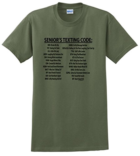 Senior Citizen Texting Code T-Shirt 2XL Military Green