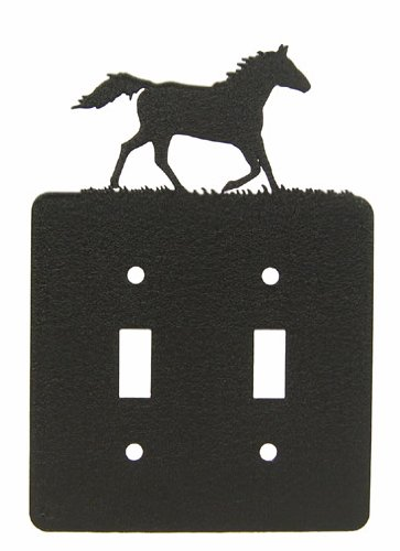 Running Horse Double Light Switch Plate -