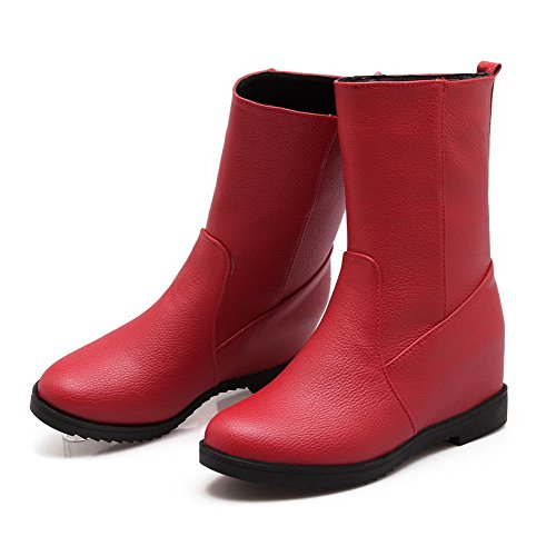 Allhqfashion Dames Hoge Hakken Zacht Materiaal Lage Top Stevige Aantreklaarzen Rood