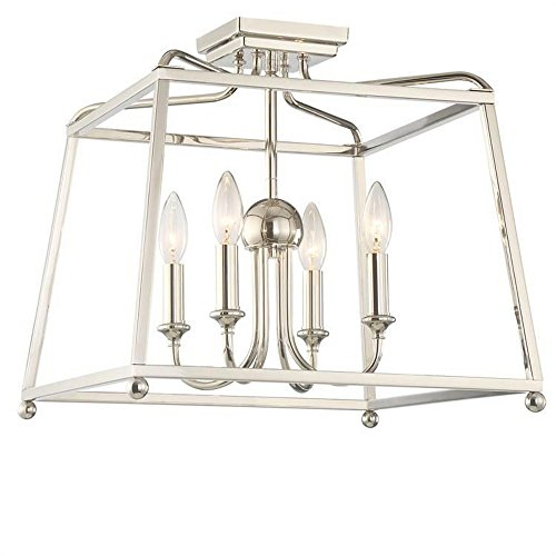 Lighting Heart Transitional Chandelier (Crystorama 2243-PN Transitional Four Light Ceiling Mount from Sylvan collection in Chrome, Pol. Nckl.finish, 16.00 inches)