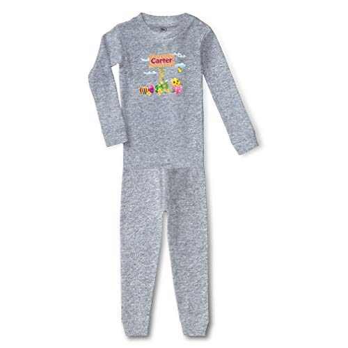 Personalized Custom Easter Eggs Cotton Crewneck Boys-Girls Infant Long Sleeve Sleepwear Pajama 2 Pcs Set Top and Pant - Oxford Gray, 5/6T for $<!--$23.99-->