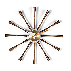 Nelson Classic Spindle Creative Wall Hanging Clock Walnut + Aluminum Bracket Quartz Silent Wall Watch Clocks Modern Nordic Unique Design For Office Home Wall Decorative - 50Cm