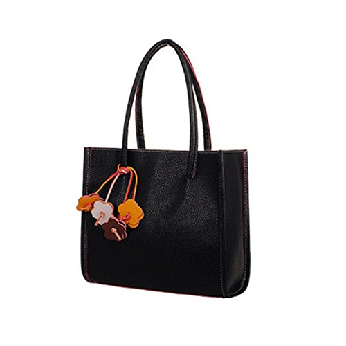 Price comparison product image Fashion Girls Candy Color Flowers Totes Handbags Shoulder Bag, Outsta Women's Leather Shoulder Tote Shopper Bag Satchel Portable Toiletry Bags Travel Casual (Black)