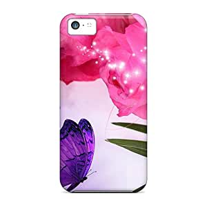 Flexible Tpu Back Case Cover For Iphone 5c - Pink Roses Purple Flowers