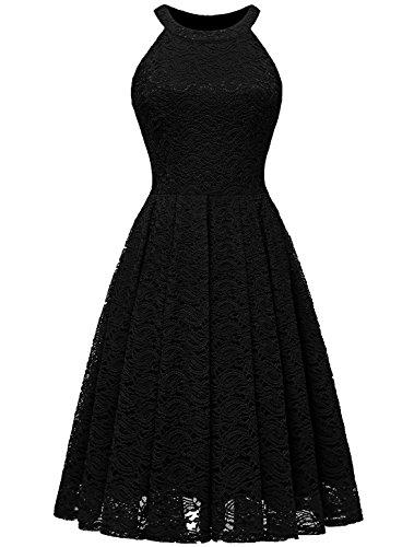 Modecrush Womens Halter Neck Formal Cocktail Party Floral Lace Wedding Midi Dress S Black