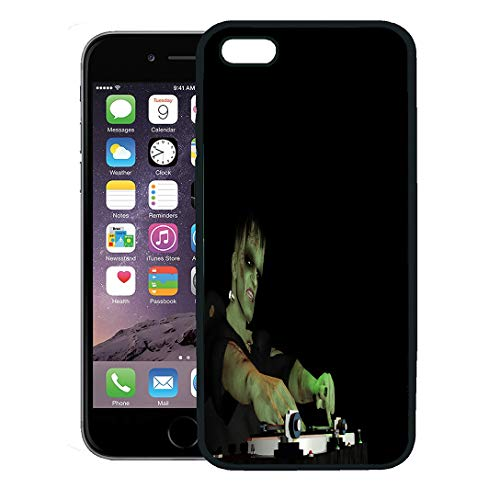 Semtomn Phone Case for iPhone 8 Plus case Cover,Frankenstein Monster is in The House and Mixing Up Some Halloween Horror Turntables Vinyl Albums,Rubber Border Protective Case,Black -