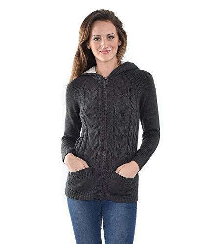 Allora Women's Cable Zip Front Sweater Cardigan with Hood (XS, Charcoal)
