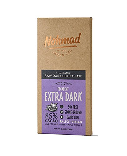 Cacao Extra Dark Chocolate - Vegan Organic Dark Chocolate by Nohmad Snack Co | Decadent Extra Dark Chocolate Gluten Free, Dairy Free, Soy Free | 85% Dark Chocolate | Handmade in CA | Paleo Friendly and 0 Re-fined Sugar (2 Pack)