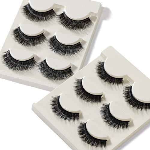 False Eyelashes 3D Mink Lashes Handmade Eyelashes Set Professional Fake Eyelashes Pack Reusable Eyelash Very Natural Soft and Comfortable, 6 Pairs 2 Styles, With Free EyeLash Tweezers (03&35)