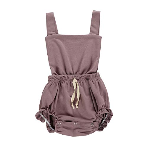 (Newborn Baby Girl Romper Solid Color Bodysuits Sleeveless One-Piece Romper Outfits Clothes (0-6 Months, Purple))
