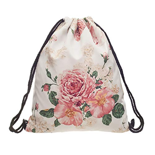 Drawstring Bag Shoulder Floral (3D Print Drawstring Backpack Rucksack Shoulder Bags Gym Bag (flower))