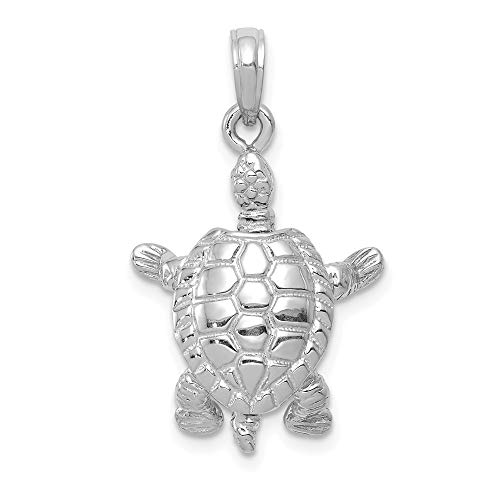 14K White Gold Charm Pendant, White 3-D Land Turtle with Moveable Head & Legs