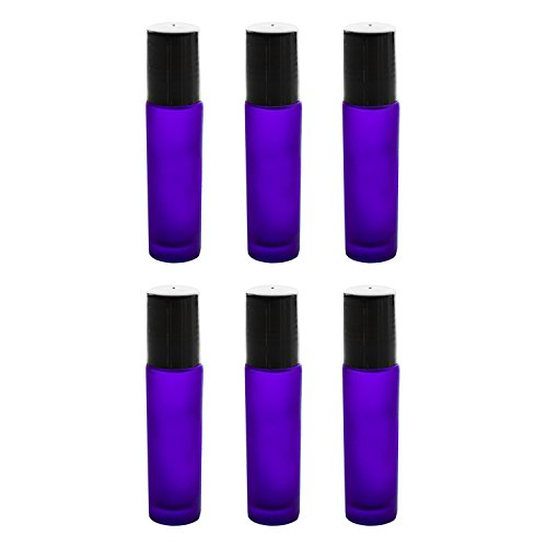 Cobalt Blue Glass Roll On 10ml (1/3oz) Bottles Glass Container Tubes Roll-On Bottles with Ball Tips for Homemade Lip Care Products, Aromatherapy Essential Oils, Perfumes (6 Pack)