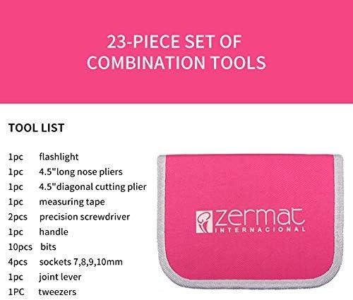 Kit doutils pour la maison 23 pi/èces pour femme avec /étui de rangement en nylon rouge pour bricolage et r/éparation /à domicile bureau #NSWXGJ