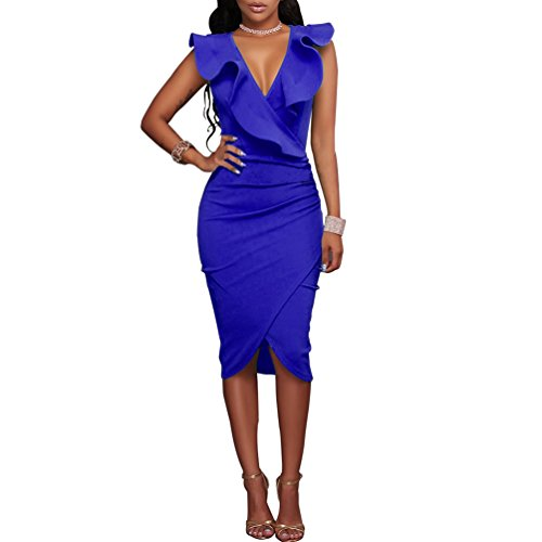 Women's Ruffles V-Neck Ruched Cocktail Club Evening Party Falbala Bodycon Dress M Royal Blue Cocktail Evening Club Dress