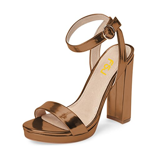 - FSJ Women Sexy Ankle Strap Platform Sandals Open Toe Chunky High Heel for Summer Shoes Size 9 Bronze