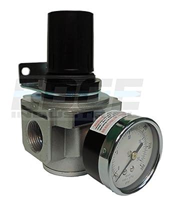 "Heavy Duty 3/4"" In-line Compressed Air Pressure Regulator, 7 To 215 Psi Adjustable, Bracket, Gauge"