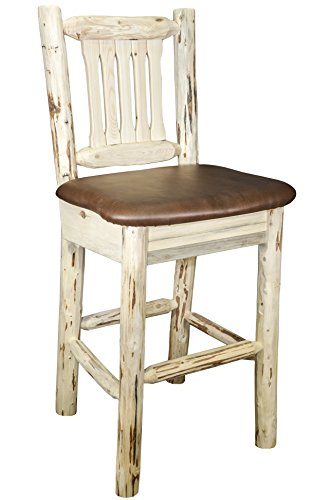 Unfinished Wood Saddle Seat Stool - Montana Woodworks MWBSWNRSADD Montana Collection Barstool with Back, Ready to Finish with Upholstered Seat, Saddle Pattern