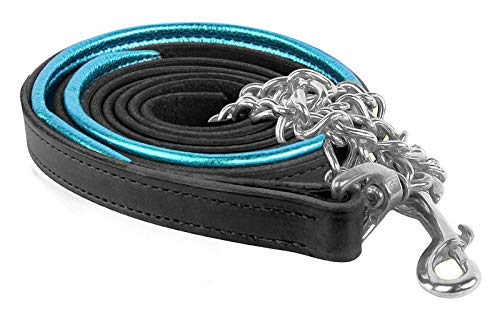 Perri's Leather Metallic Padded Leather Lead with Chain, 6-Feet, Black Turquoise