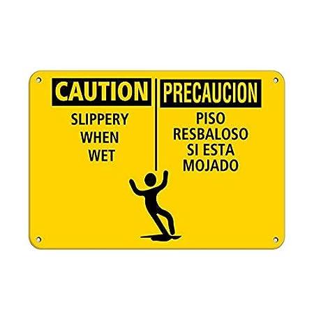 ymot101 Cartel de Aluminio con Texto en inglés Caution ...