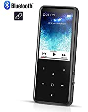 AGPTEK C2 8GB Bluetooth 4.0 MP3 Player with 2.4 Inch TFT Color Screen, FM/Voice Recorder Lossless Sound Metal Music Player, Touch Button with Backlight Support Up to 128GB, Black