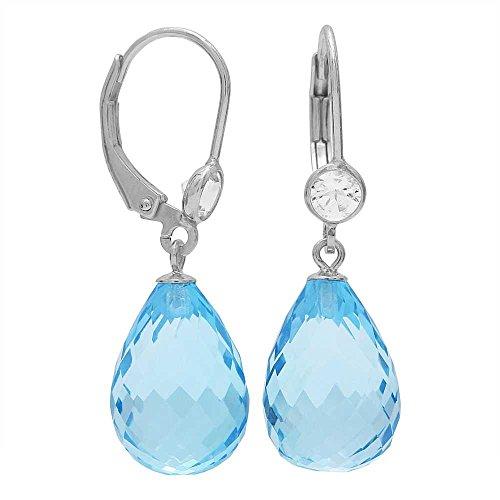 (Gem Stone King 25.00 Ctw Briolette Blue Topaz 925 Sterling Silver Drop Earrings)