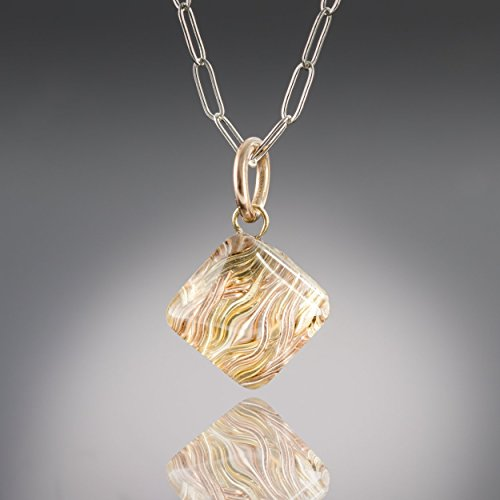 "Gold Woven Metal and Glass Modern Pyramid Shape Geometric 18"" Pendant (Glass Textured Sterling Silver Necklace)"