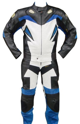 Perrini 2pc Motorcycle Racing Riding Leather Track Suit w/ Armor New Blue/White/Black ()