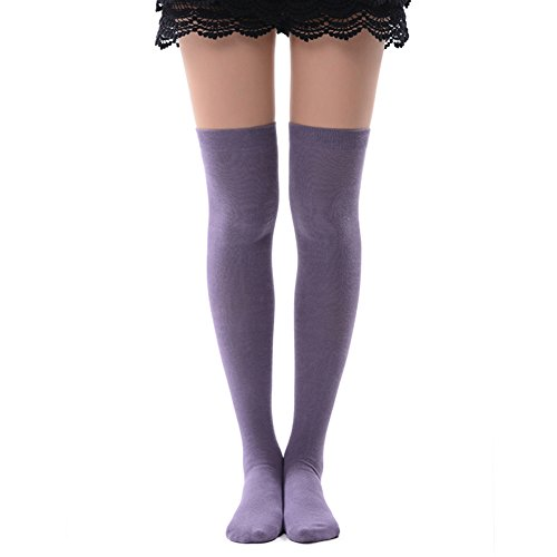 MK MEIKAN Knit Thigh High Socks, Solid Color Women Uniform Over Knee High Socks Best Womens Gift 1 Pair, Medium Purple -