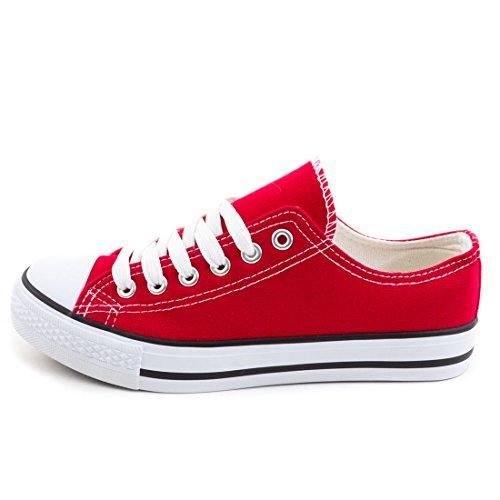 Low Kinder Sneaker Trendige Damen Weiß Textil Rot Top Schnür Schuhe Canvas Herren Unisex qFxxHXY