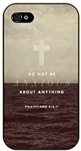 Do not be anxious about anything - Cross and sea - Philippians 4:6 - 7 - Bible verse iPhone 4/ 4s black plastic case / Christian Verses