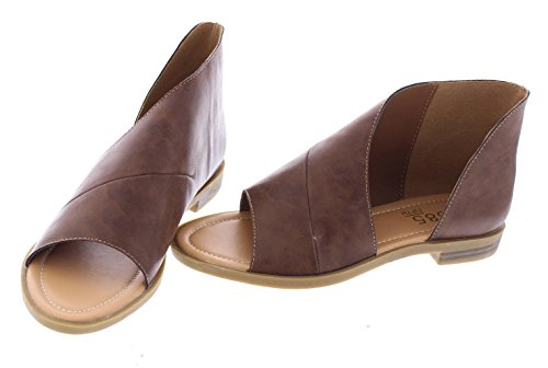 385 FIFTH Women's Faux Leather Half D'Orsay Open Toe Asymmetrical Wrap Flat Sandal Brown 8 (Leather Flat Sandals)